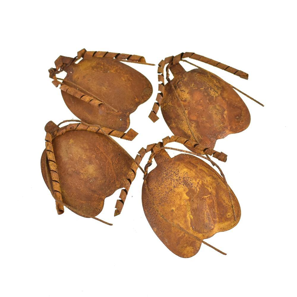 Rustic Metal Pumpkin Ornaments, 3-Inch, 4-Piece