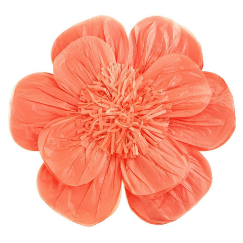 Paper Scalloped Magnolia Wall Flower, Coral, 20-Inch