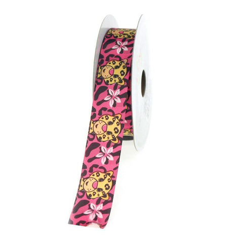 Aloha Leopard Hot Pink Satin Ribbon, 7/8-Inch, 10 Yards