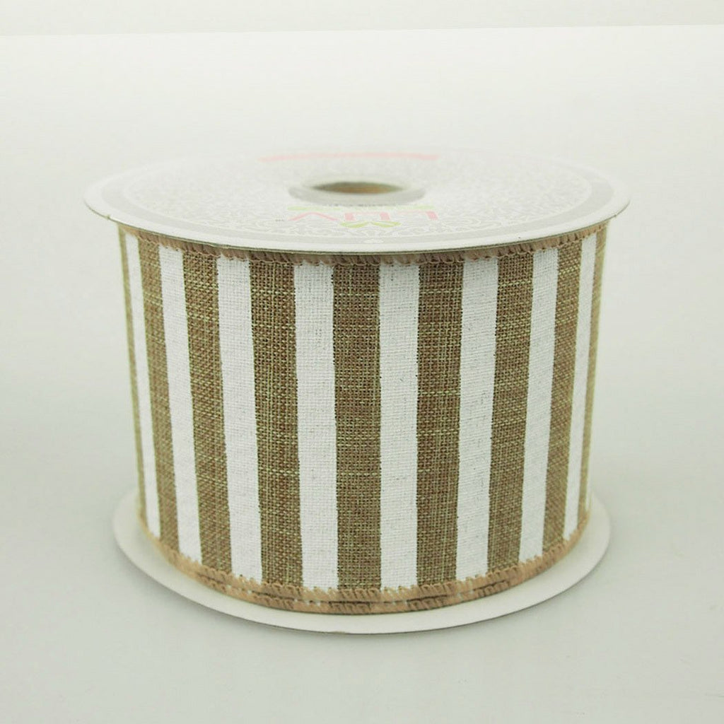 White Bold Lines Canvas Ribbon, 2-1/2-Inch, 10 Yards