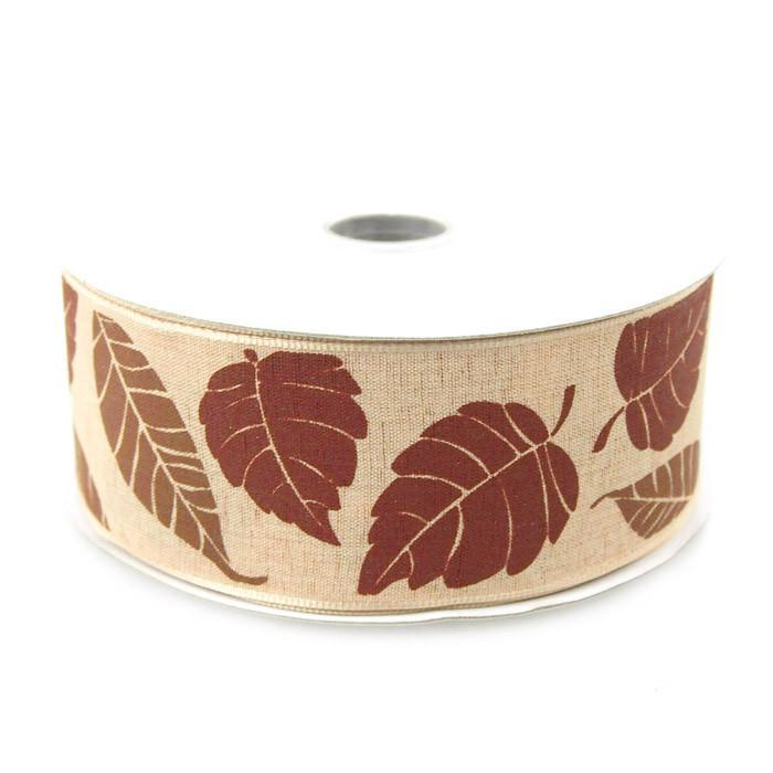 Leaves Poly Ribbon Wired Edge, 1-1/2-inch, 10-yard, Toffee