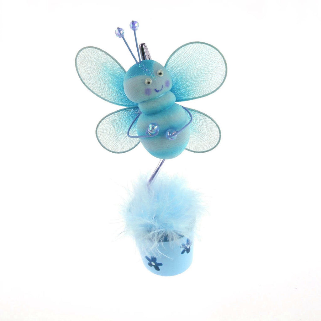 Bee Flower Pot Place Card Holder, 6-Inch, Turquoise - CLOSEOUT