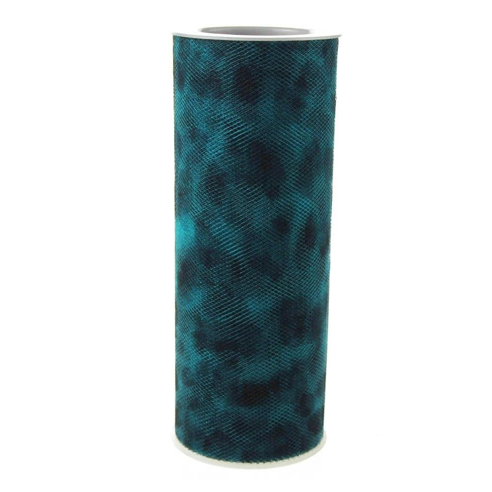 Cheetah Print Tulle Spool, 6-Inch, 10 Yards, Turquoise