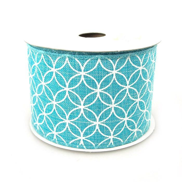Curved Diamond Canvas Ribbon, 2-1/2-Inch, 10 Yards, Turquoise