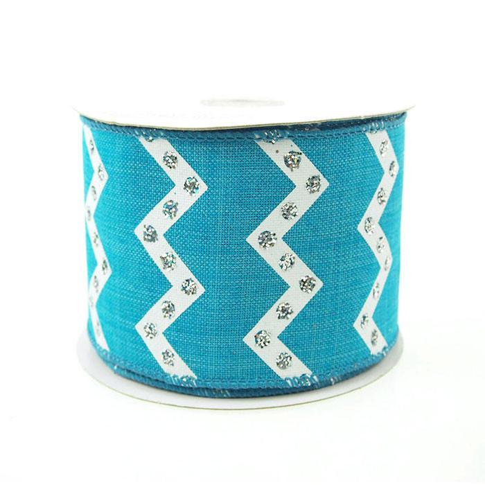 Chevron Glitters Canvas Ribbon, 2-1/2-inch, 10-yard, Turquoise