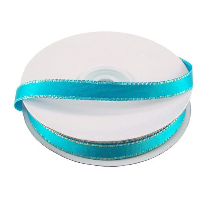 Satin Ribbon with Iridescent Edge, 3/8-Inch, 25 Yards, Turquoise