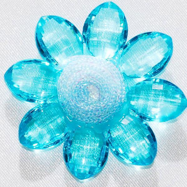 Sunflower Acrylic Crystal Flower, 1-3/4-inch, 6-Piece, Turquoise