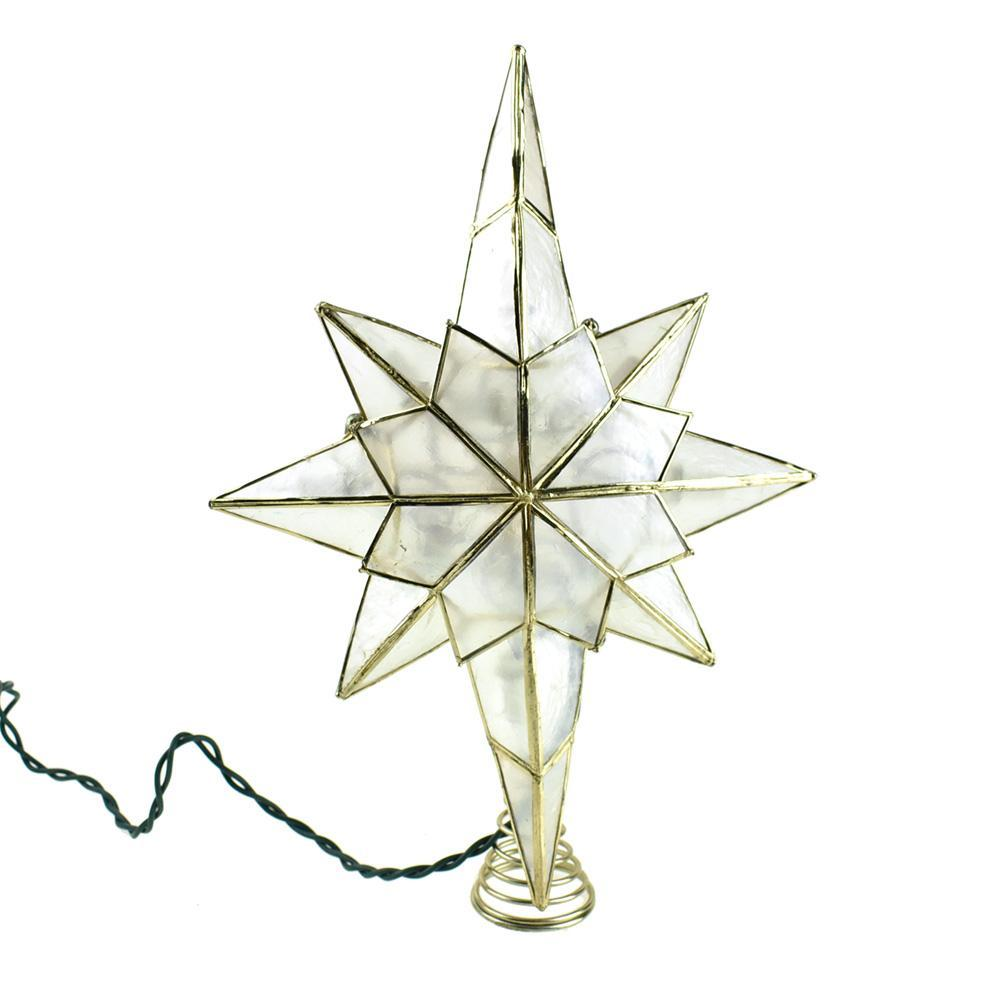 Incandescent Capiz Star Christmas Tree Topper, 12-Inch