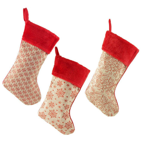 Natural Burlap Christmas Stockings with Plush Red Cuff, 18-Inch, 3-Piece