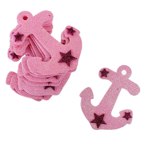 Glitter Foam Nautical Anchor Cut-Outs, Pink, 3-1/4-Inch, 10-Count