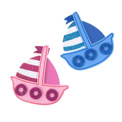 Foam Sailboat Cutouts with Glitter, 3-1/4-Inch, 10 Count
