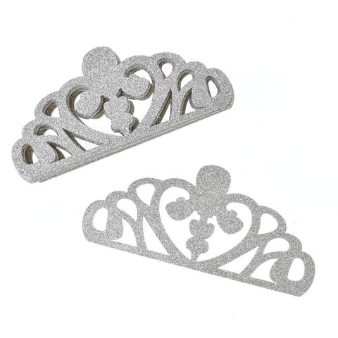 EVA Glitter Foam Tiara Crown Cut-Outs, 8-1/2-Inch, 10-Count, Silver
