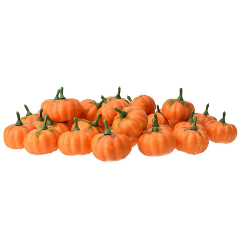 Mini Artificial Pumpkin Fall Decor, Orange, 1-1/2-Inch, 36-Count