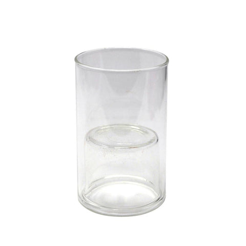 Clear Glass Cup Taper Candle Holder, 3-7/8-Inch
