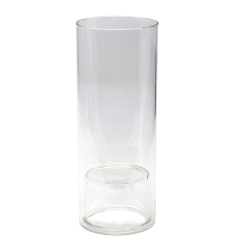 Clear Glass Cup Taper Candle Holder, 7-Inch