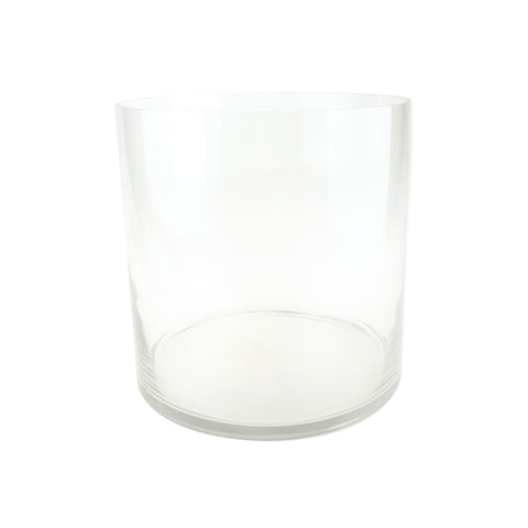 Wide Bottom Cylinder Glass Vase, 10-Inch [Closeout]