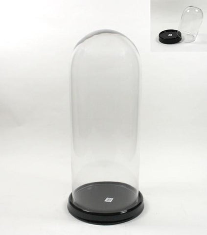 Clear Glass Dome Display Display Centerpiece with Black Base, 25-Inch