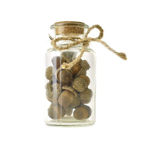 Artificial Mini Acorn Filled Corked Glass Jar, 5-Inch