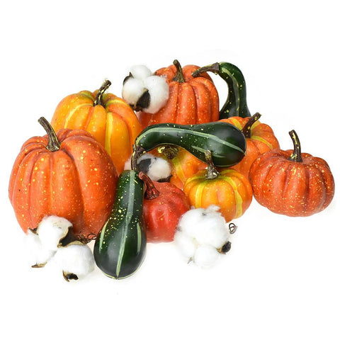 Artificial Pumpkin & Cotton Fall Decor, Assorted, 15-Piece
