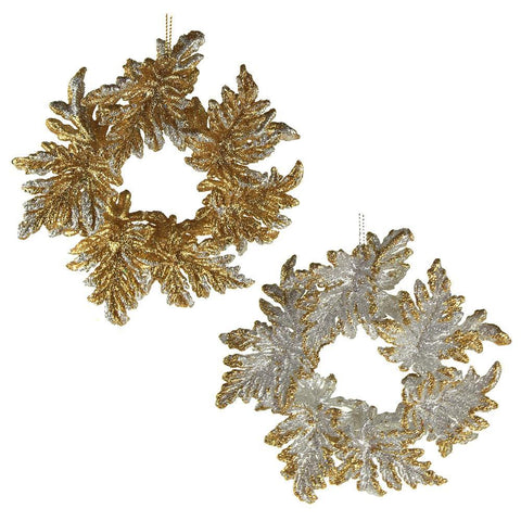 Acrylic Glitter Wreaths Ornaments, Gold/Silver, 5-Inch, 2-Piece