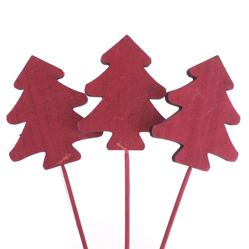 Holiday Christmas Pine Tree Wooden Sticks, Red, 16-Inch, 3-Count