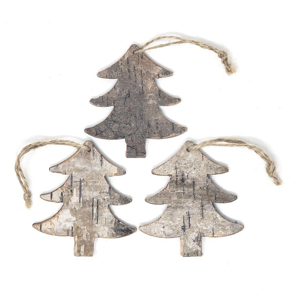 Hanging Birch Tree Ornament, 4-Inch, 3-Count