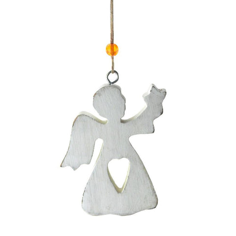 Angel Heart Wooden Christmas Ornament, 4-Inch