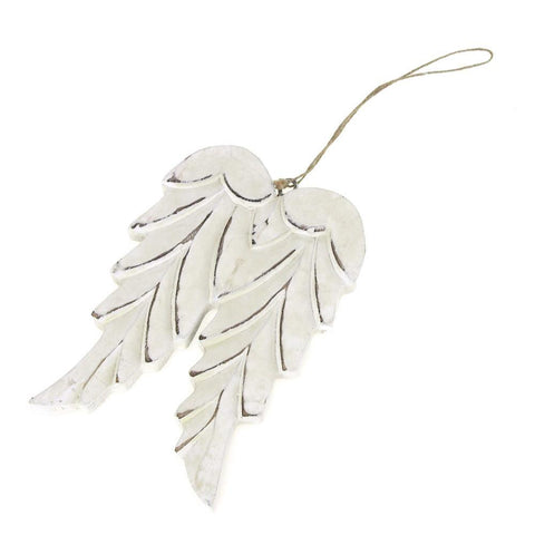 Angel Wing Wooden Christmas Ornament, 5-1/2-Inch