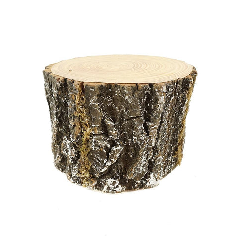Artificial Snow Covered Log Decoration, 4-1/2-Inch