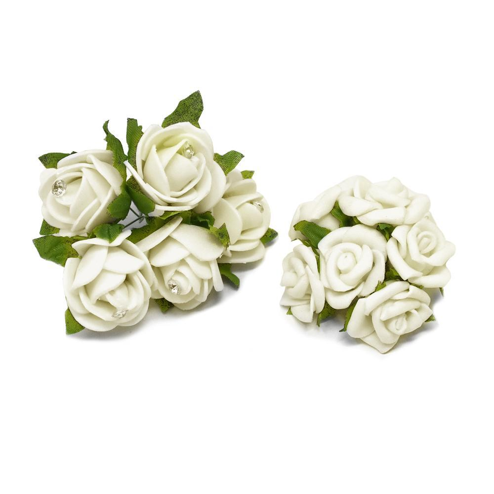 Mini Rose Floral Bouquets, Ivory, 2-Pieces