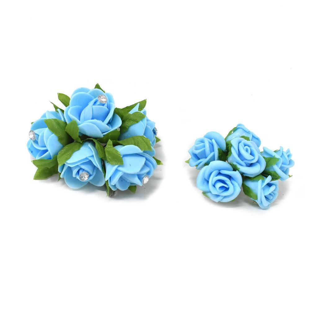 Mini Rose Floral Bouquets, Light Blue, 2-Pieces