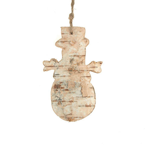 Carved Birch Snowman Hanging Christmas Tree Ornament, Natural, 4-Inch