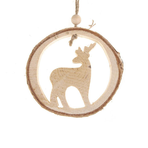 Carved Wood Reindeer Round Hanging Christmas Tree Ornament, Natural, 4-1/4-Inch
