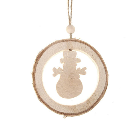 Carved Wood Snowman Round Hanging Christmas Tree Ornament, Natural, 4-1/4-Inch