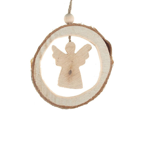 Carved Wood Angel Round Hanging Christmas Tree Ornament, Natural, 4-Inch