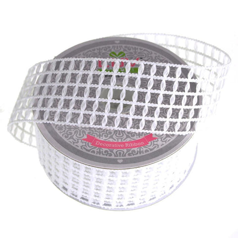 Braided Net Mesh Ribbon, 1-1/2-Inch, 10 Yards, White