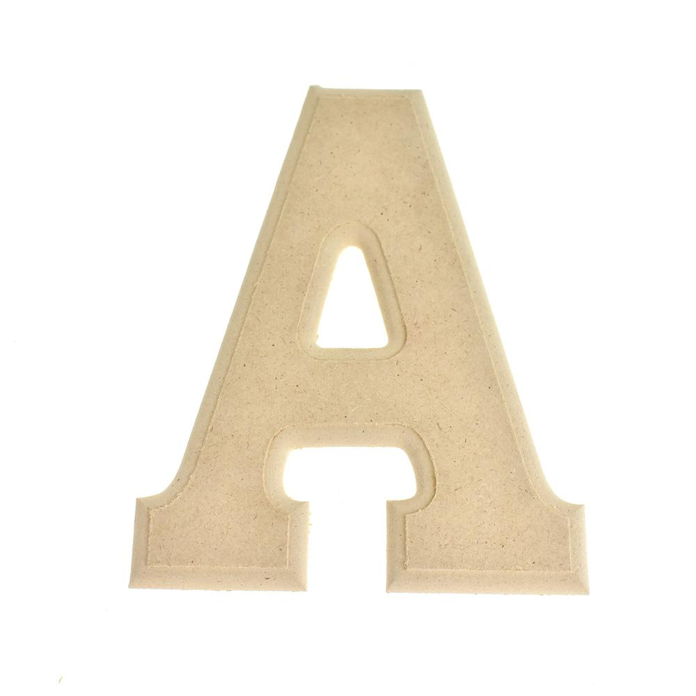 Pressed Board Beveled Wooden Letter A, Natural, 6-Inch