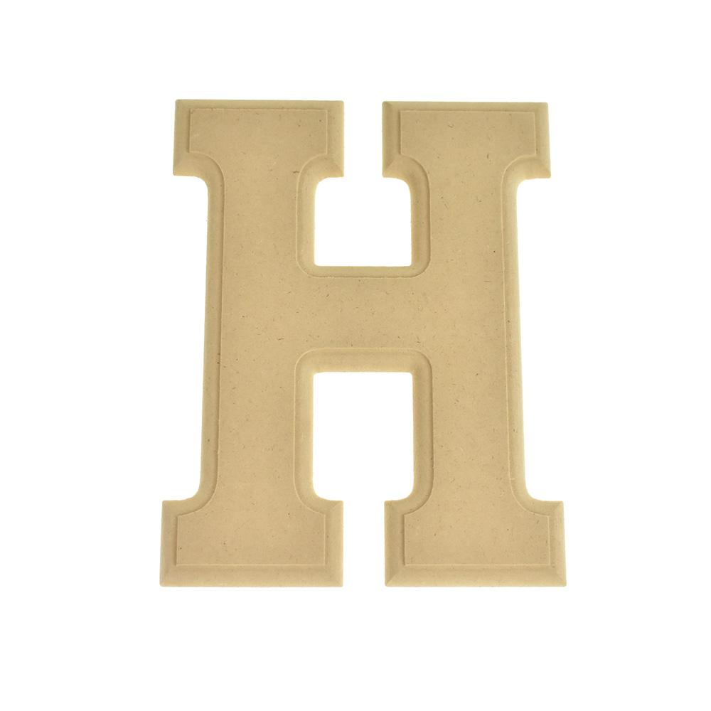Pressed Board Beveled Wooden Letter H, Natural, 6-Inch