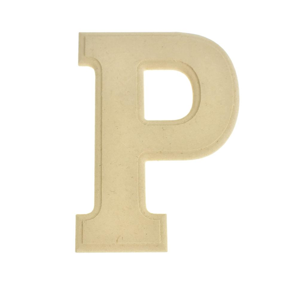 Pressed Board Beveled Wooden Letter P, Natural, 6-Inch
