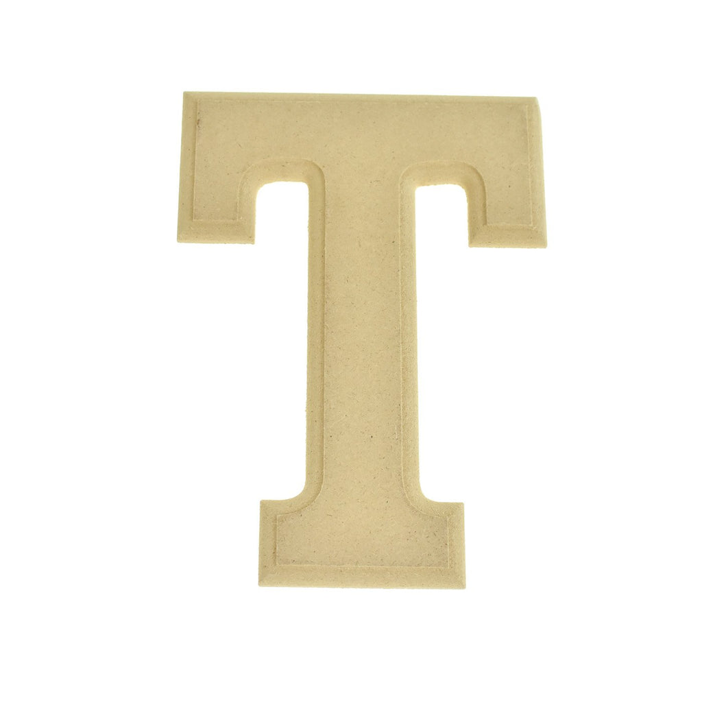 Pressed Board Beveled Wooden Letter T, Natural, 6-Inch