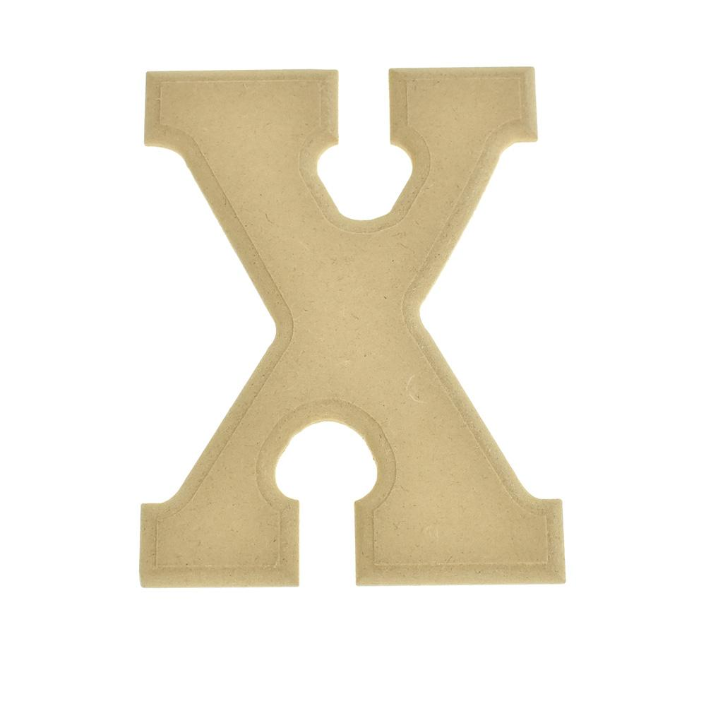 Pressed Board Beveled Wooden Letter X, Natural, 6-Inch