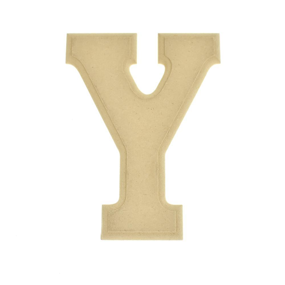 Pressed Board Beveled Wooden Letter Y, Natural, 6-Inch