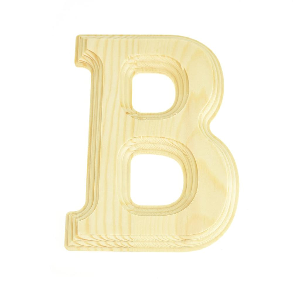 Pine Wood Beveled Wooden Letter B, Natural, 6-Inch