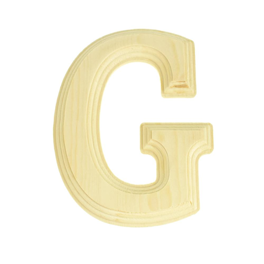 Pine Wood Beveled Wooden Letter G, Natural, 6-Inch