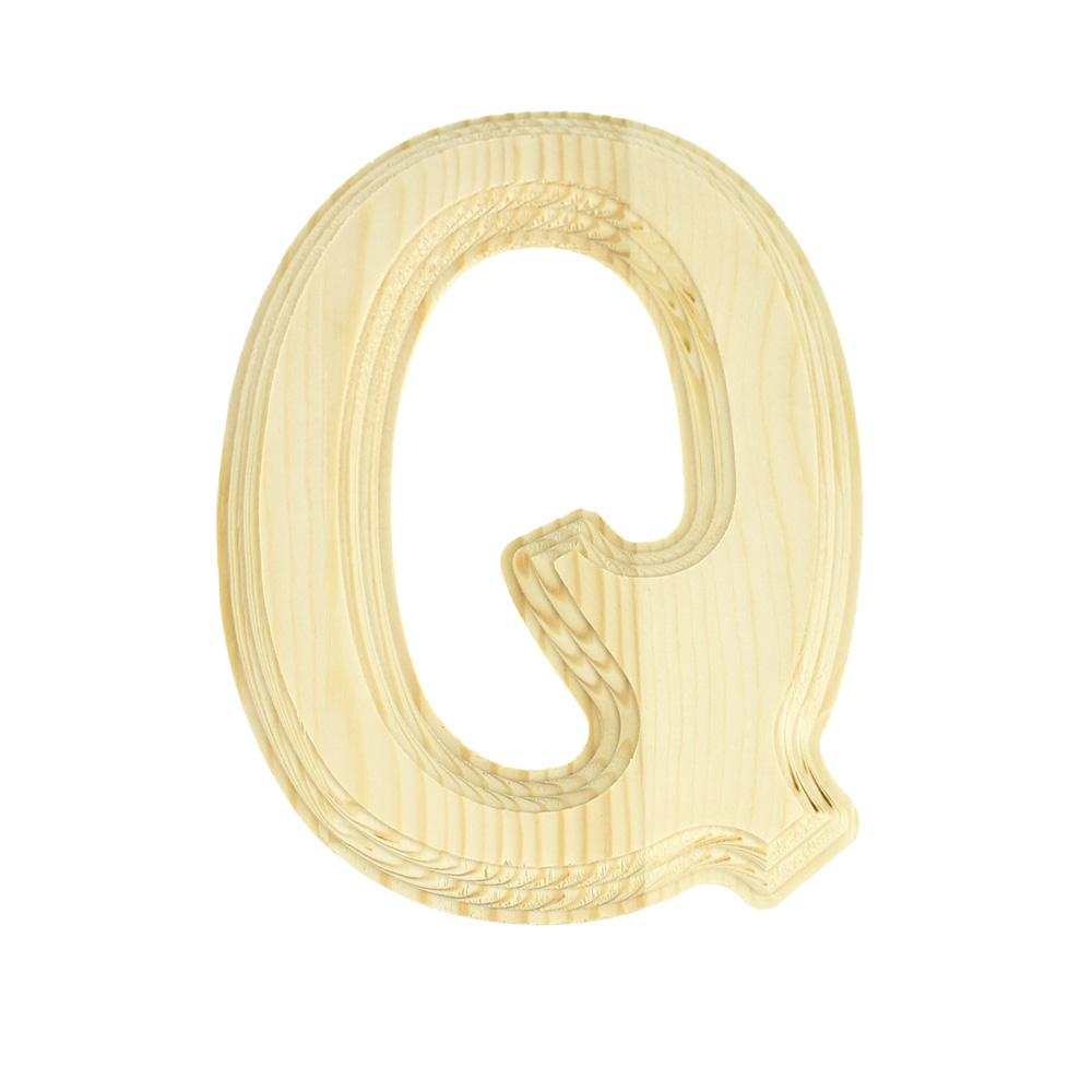 Pine Wood Beveled Wooden Letter Q, Natural, 6-Inch