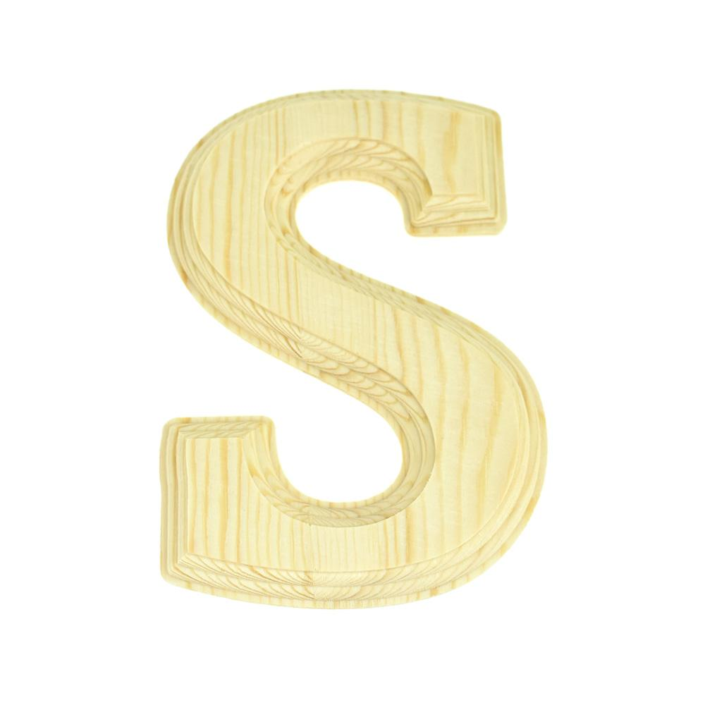 Pine Wood Beveled Wooden Letter S, Natural, 6-Inch