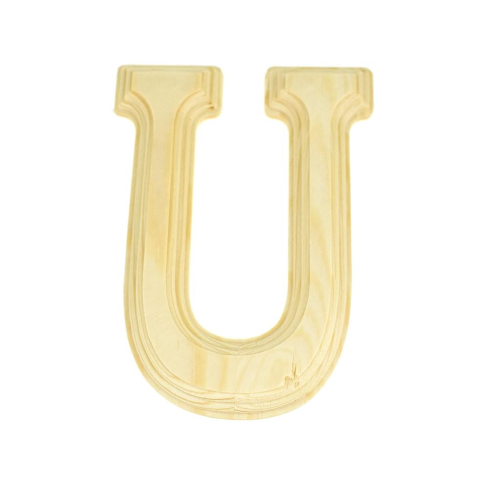 Pine Wood Beveled Wooden Letter U, Natural, 6-Inch