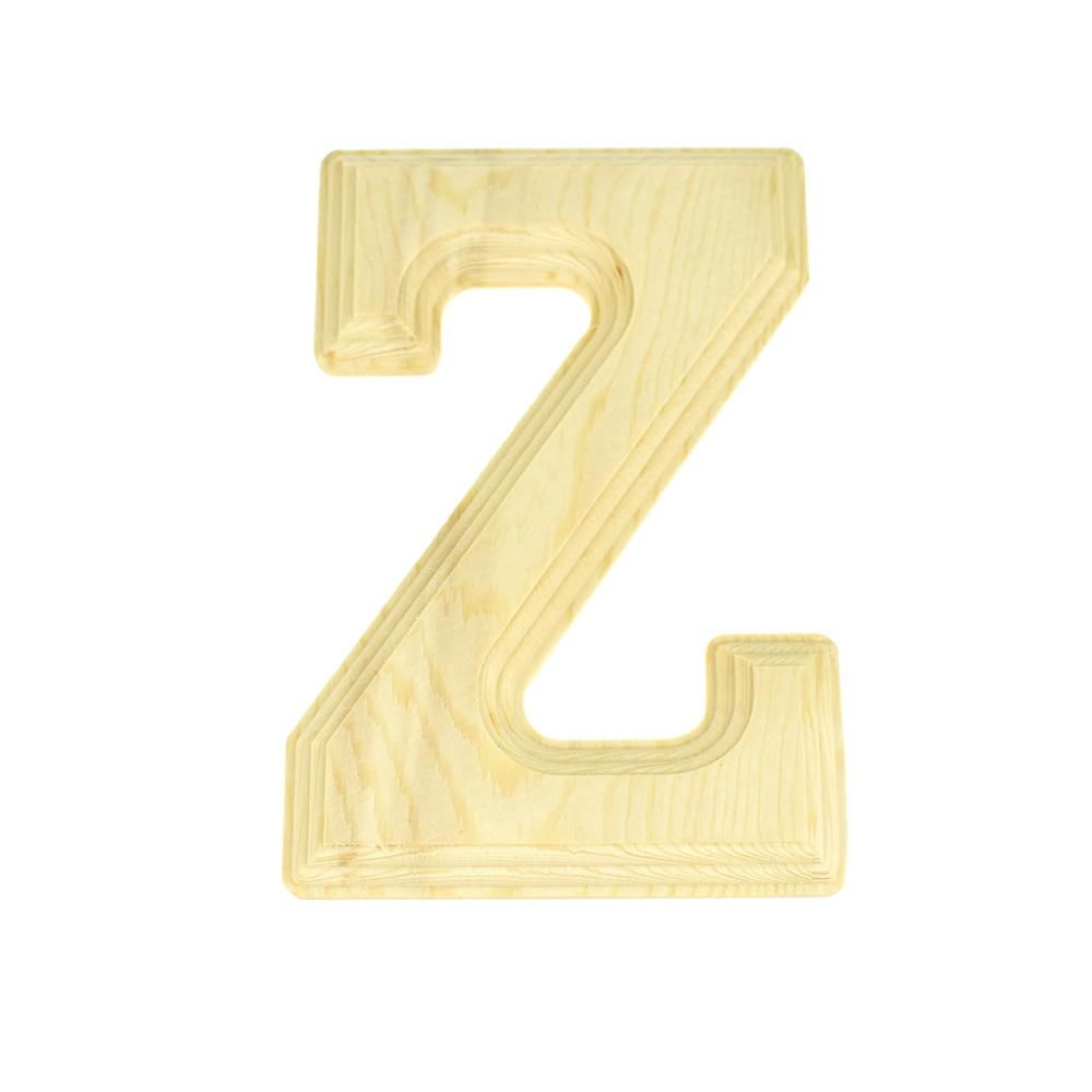 Pine Wood Beveled Wooden Letter Z, Natural, 6-Inch