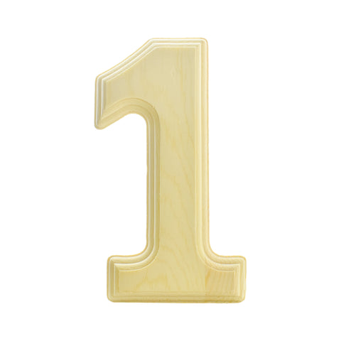 Pine Wood Beveled Wooden Number 1, Natural, 5-13/16-Inch