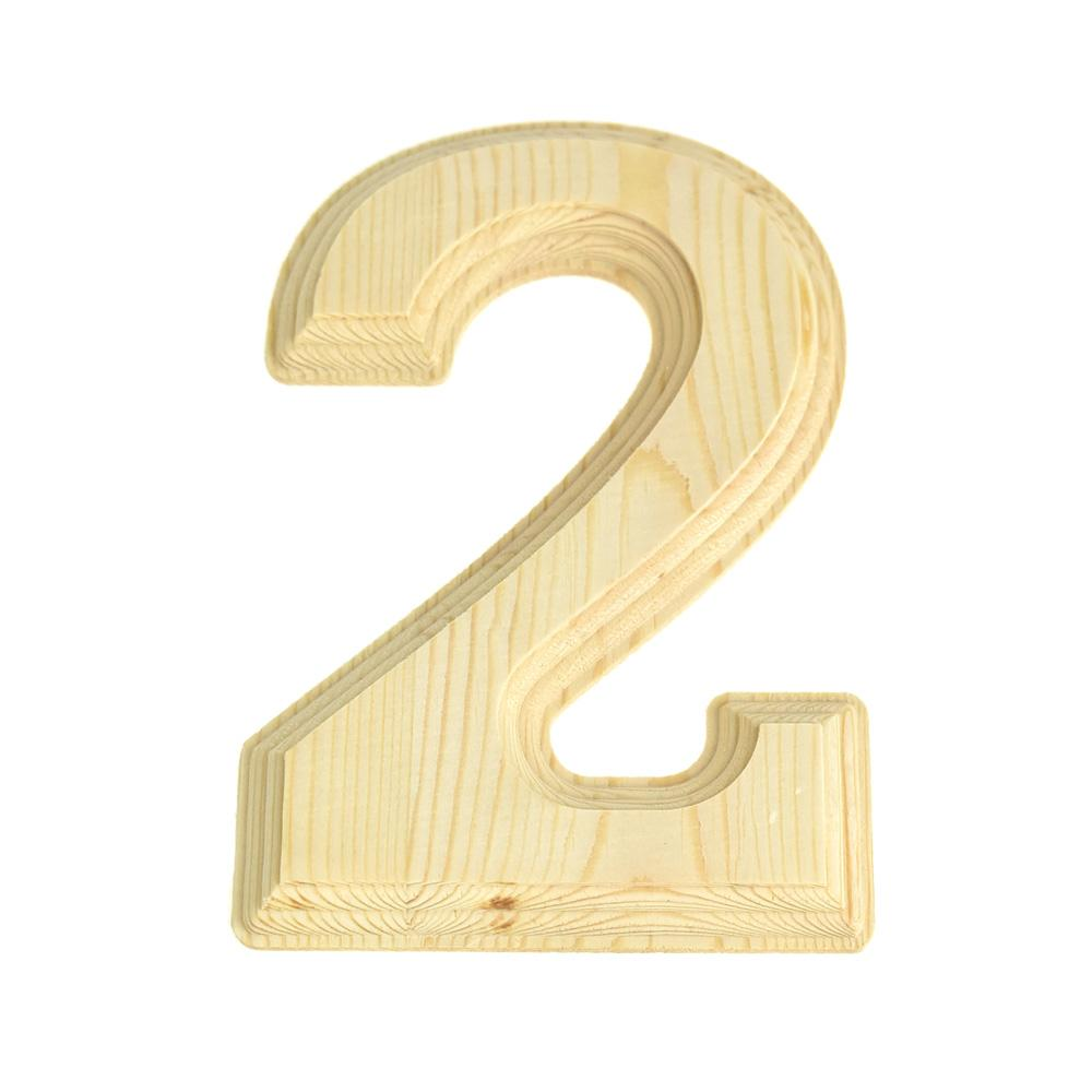 Pine Wood Beveled Wooden Number 2, Natural, 6-Inch